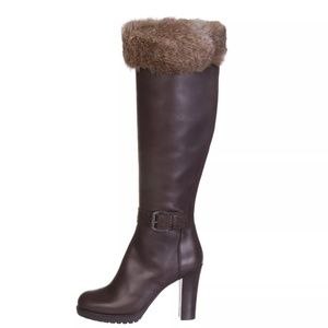NEW ALBERTO GUARDIANI Leather/Rabbit Boots